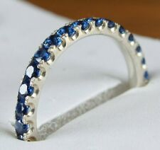1.00 Ct Round Blue Sapphire Full Eternity Wedding Band 14k White Gold Gp Ring