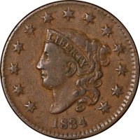 1834 Large Cent Small '8' Large Stars Choice VF+ N.2 R.1 Superb Eye Appeal