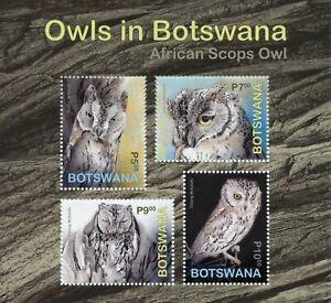 Botswana Birds on Stamps 2020 MNH Owls African Scops Owl 4v M/S