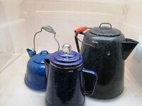 Lot of 3 Vintage Enamelware Camping Coffee Pots
