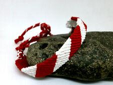 """Pulsera Macrame """"Roja y Blanca"""" en hilo de algodón - Artesanal"""
