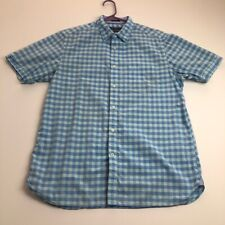 Indian Terrain Men Short Sleeve Button Up Shirt Medium Blue Checker Plaid Pocket