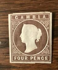 Gambia Stamp Scott #1 MH 4p Brown Imperf Embossed 1869 CV =  $550