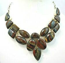 STUNNING STERLING SILVER WITH TIGER IRON STONE NECKLACE
