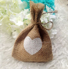 100Pcs Loose Weave White Love Heart Mini Hessian Bags with Jute Twine Wedding