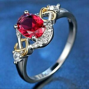 2Ct Oval Cut Red Ruby Two Tone Solitaire Engagement Ring 18K White Gold Finish
