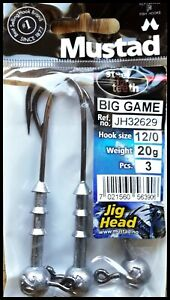 MUSTAD BIG GAME JIG HEADS hook size 12/0 - 20 grams - 3 pcs per pack!
