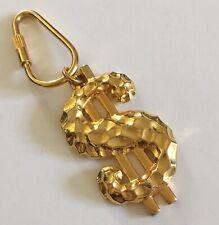 Dollar Sign Key Chain Money Key Ring Gold Tone Chunky