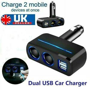 2Way 12V Dual USB Car Charger Socket Cigarette Lighter Splitter Power Adapter
