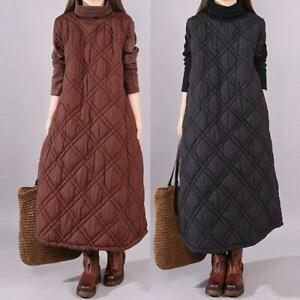 Women's High Neck Robe Thicken Warm Slim Fit Cotton Chic Quilted Maxi Long Dress