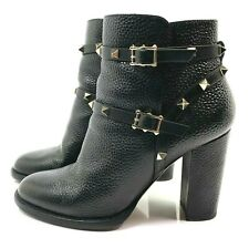 Valentino Rockstud Studded Black Leather Ankle Booties Boots 39