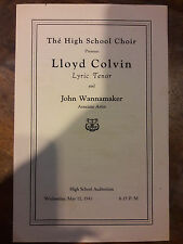 1943 PLAYBILL LLOYD COLVIN TENOR JOHN WANNAMAKER MILDRED EVELYN BARNETT 00031