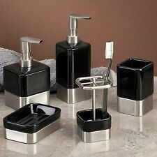 Superb InterDesign Gia Bathroom Vanity Tumbler, Black/Brushed