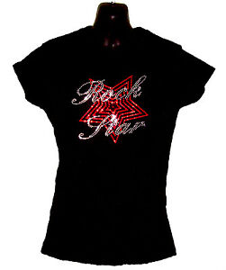 ROCK STAR MUSIC LADIES FITTED T SHIRT WITH RHINESTONE CRYSTAL DESIGN (any size )