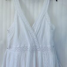 NEW White Crochet Lace Peasant Crinkle Boho Plus cocktail casual Dress 22/20/2X