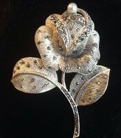Sterling Silver Rose Pin