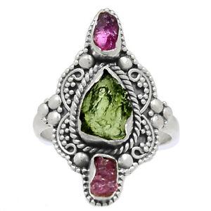 Bali Design - Genuine Czech Moldavite 925 Silver Ring Jewelry s.6.5 BR79596