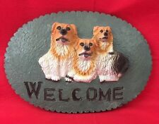 Resin Welcome Sign 3 Dogs Green Background Black Letters House Welcome Sign