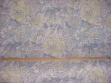 1Y MICROFIBERS DIVERSITEX CITRON / GREY BLUE  FLORAL LINEN UPHOLSTERY FABRIC