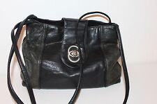 80er 80s Vintage echt Leder Beutel Tasche schwarz TRUE VTG Leather Satchel BAG