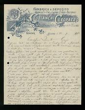 LETTERE COMMERCIALI FABBRICA E DEPOSITO COBIANCHI CLEOPATRO BOLOGNA 1911