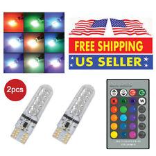 2x T10 6SMD RGB LED Multi Color Car Wedge Bulb w/ Strobe Light Effect + IRRemote
