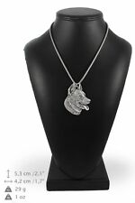 Beauceron - silver covered necklace with silver chain, Art Dog