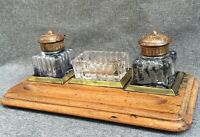 Antique french Art Nouveau inkwell early 1900's made of wood bronze glass
