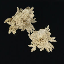 1 yd Gold 3D Flowers Metallic Embroidery Polyester Lace Trim Bridal Wedding Belt