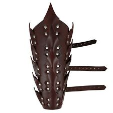 Drogo's Fury Dragon Scale Adjustable Brown Leather Leg Greave