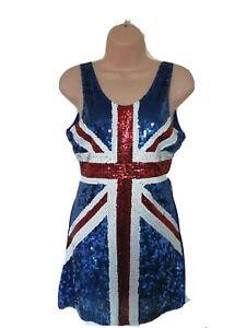 """Blue Sequined Union Jack Dress. Size M. Pit To Pit 16"""" L 30"""""""