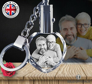 For Couples Personalised L.E.D Crystal Keyring - Octagon or Heart shape