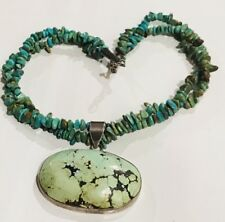 RARE Vintage Two-Strand Green Carico Lake Turquoise Statement Necklace Lg Taxco