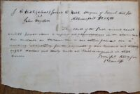 JOSEPH ALBERT WRIGHT 1833 Autograph/Hand-Signed, Document - Indiana IN Governor