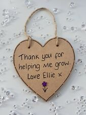 Personalised Thank you for helping me grow Teacher Plaque Gift Leaving nursery