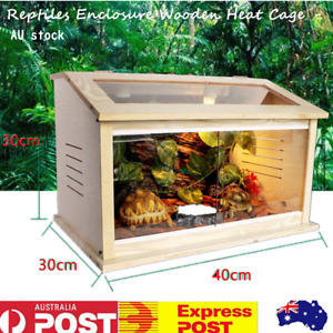 Wooden Reptiles Enclosure E27 Screw Heating Cage Lizard Frog Snake Turtle Tank
