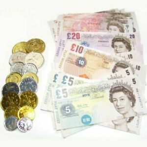 Childrens Kids Pretend Toy Fake Money Role Shops Cash New Notes £ Coins Age 3+