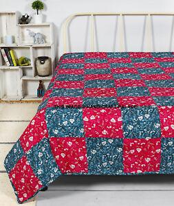 Warm Handmade Sofa Flannel Filled Blanket Cotton Indian Bedding Bedspread Throw