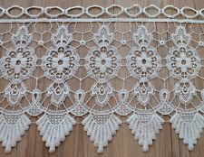 "36"" White Macrame Lace Window Curtain Valance 12"" Length"