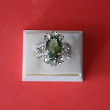Gorgeous Green Amethyst & White CZ Silver Ring 5 Gr. Size P - US 8.0 In Gift Box