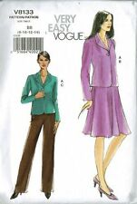 Very Easy Vogue V8133 Misses' Skirt and Pants Suit Bb Size 8--10-12-14 Uncut OOP