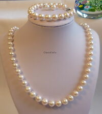 Genuine silver9-10mm circle freshwater pearl necklace+bracelet+earring;L55&16-20