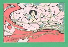 VINTAGE A. MARZ ART NOUVEAU POSTCARD EXOTIC LADY AMID FLOWERS