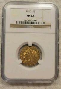 1910 NGC MS-62 $5 GOLD INDIAN ~ EXCELLENT LUSTER ~ DEEP ORANGE!