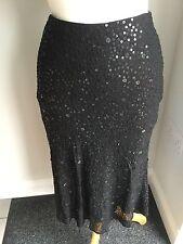 Hobbs Ladies Black Sequin Silk Skirt Size 8. Good Condition.