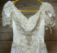 Vintage Victorian/Cathedral Style Wedding Dress Size 8 Downton Abbey Gown Train