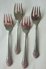 4 Salad Forks Reed and Barton 18/8  Stainless Seafare Sea Fare Shell Pattern