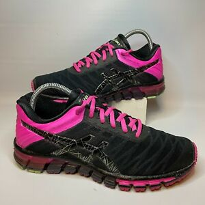 Asics Womens Gel Quantum 180 T5J7N Black Pink Lace Up Running Shoes Size 8.5