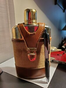 Glass and Metal Flask with Leather Case Lucky