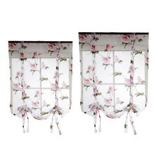 2 Pieces Lovely Flower Roman Curtain Shade Tie Up Small Window Voile Drape Sheer
